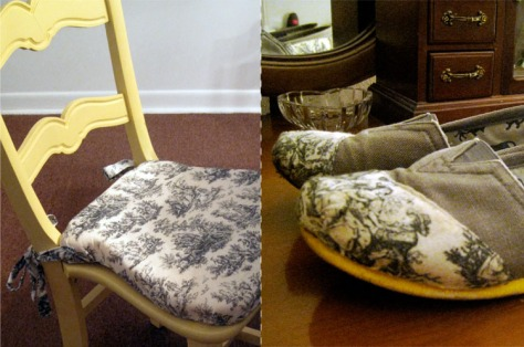 Recovered Chair and TOMS shoes, with the same fabric